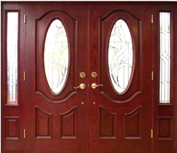 Cửa nhôm kính giả gỗ cho phòng khách mẫu 1