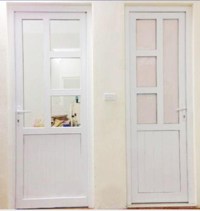 Cửa nhôm kính 1 cánh mở quay màu trắng mẫu 2