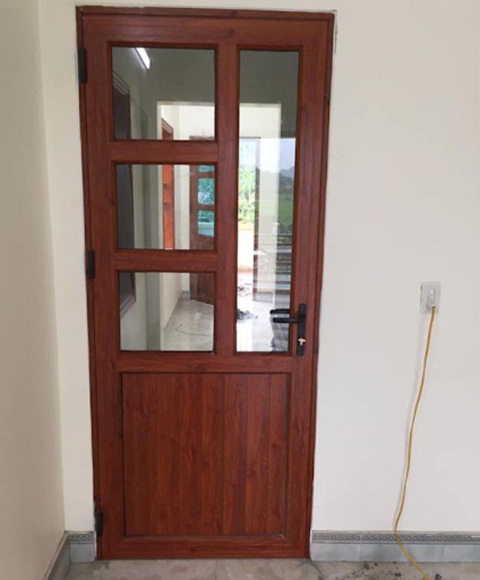 Cửa nhôm kính 1 cánh giả gỗ mẫu 2