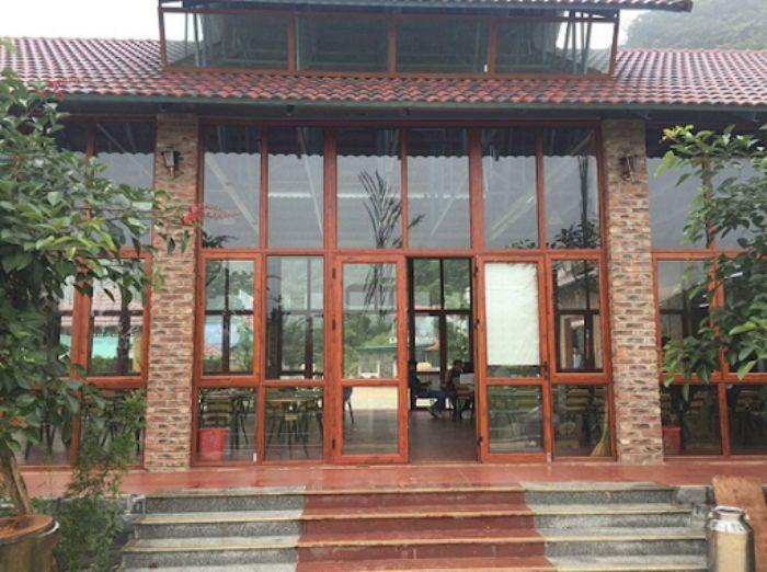 Cửa nhôm Xingfa chia ô vân gỗ mẫu 3