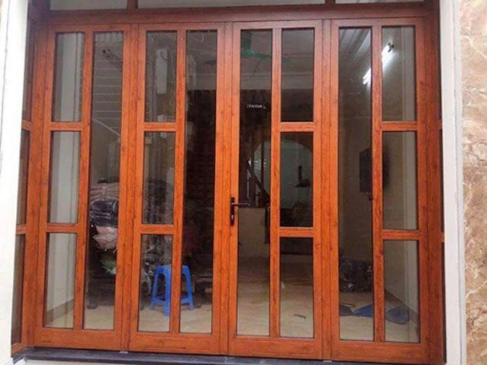 Cửa nhôm Xingfa vân gỗ 4 cánh mẫu 1