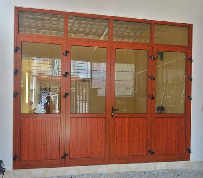 Cửa nhôm Xingfa vân gỗ 4 cánh mẫu 3