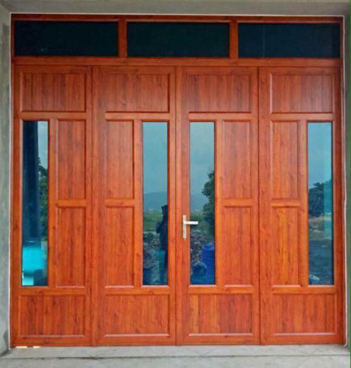 Cửa nhôm Xingfa vân gỗ 4 cánh mẫu 4