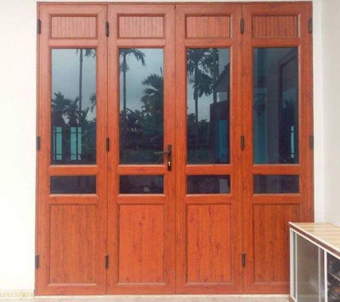 Cửa nhôm Xingfa vân gỗ 4 cánh mẫu 6