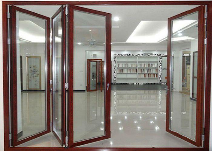 Cửa mở quay nhôm Xingfa vân gỗ mẫu 4