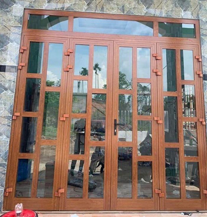 Cửa nhôm xingfa vân gỗ chia ô chia đố mẫu 1