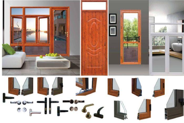 Cửa nhôm xingfa vân gỗ chia ô chia đố mẫu 2