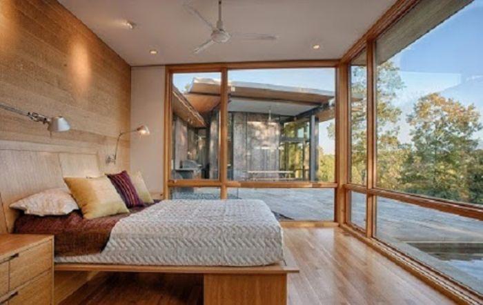 Cửa nhôm Xingfa phòng ngủ vân gỗ mẫu 3
