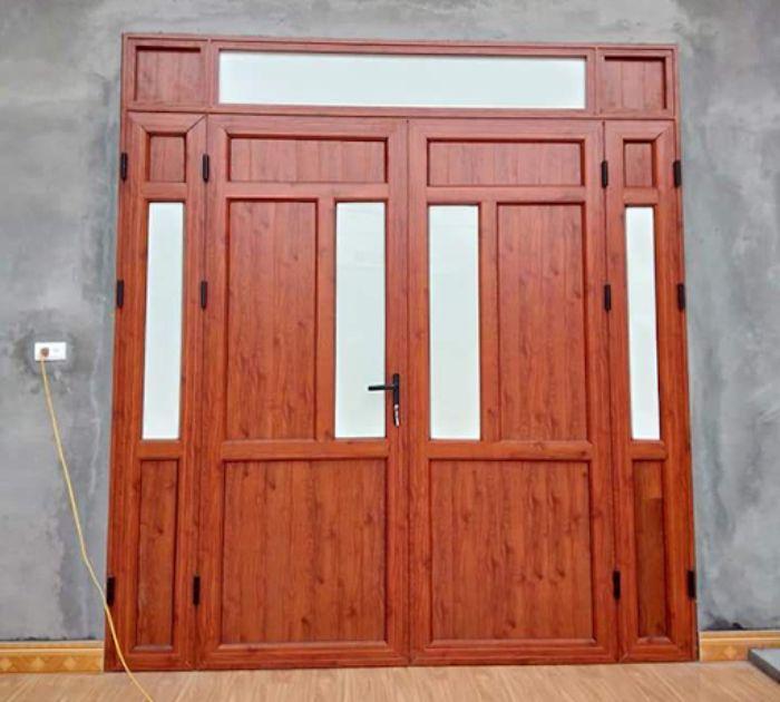 Cửa nhôm Xingfa vân gỗ 2 cánh mẫu 1