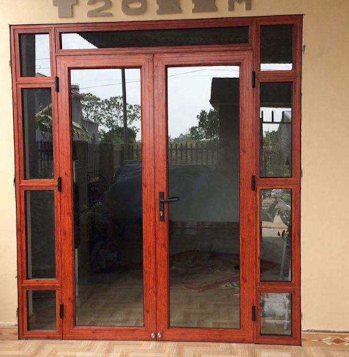 Cửa nhôm Xingfa vân gỗ 2 cánh mẫu 2