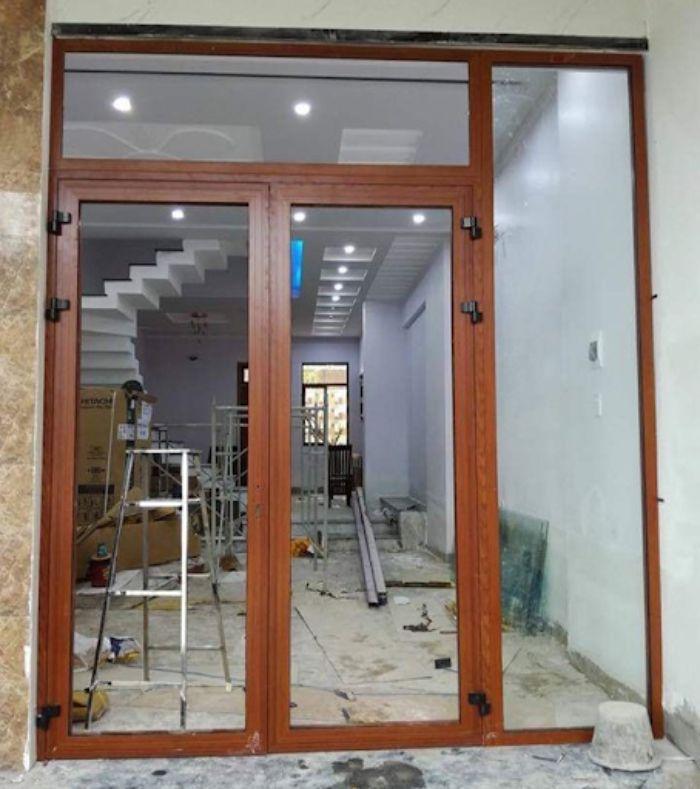 Cửa nhôm Xingfa vân gỗ 2 cánh mẫu 4