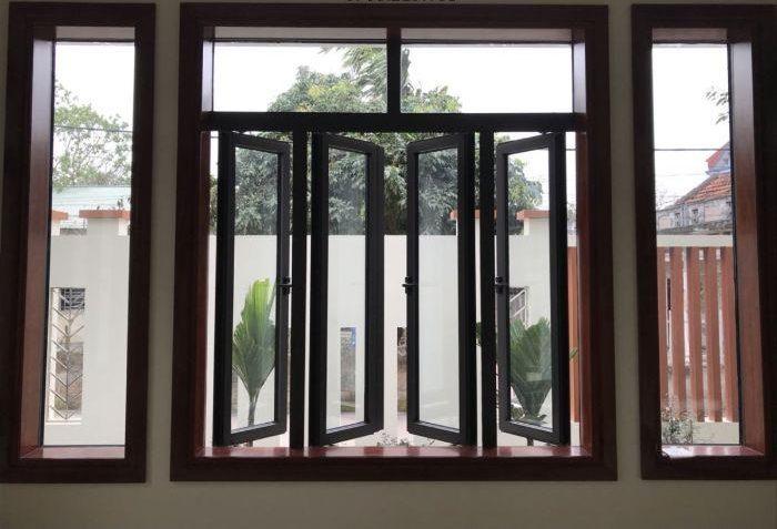 Cửa sổ nhôm kính mở quay xingfa hệ 100 có 4 cánh màu trắng