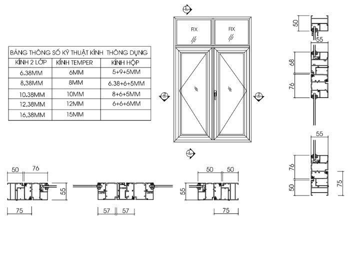 Bản vẽ kỹ thuật cửa sổ nhôm kính mở quay 2 cánh hệ 55