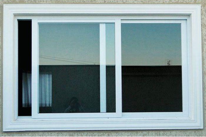 Mẫu cửa sổ nhôm kính mở trượt 2 cánh màu trắng