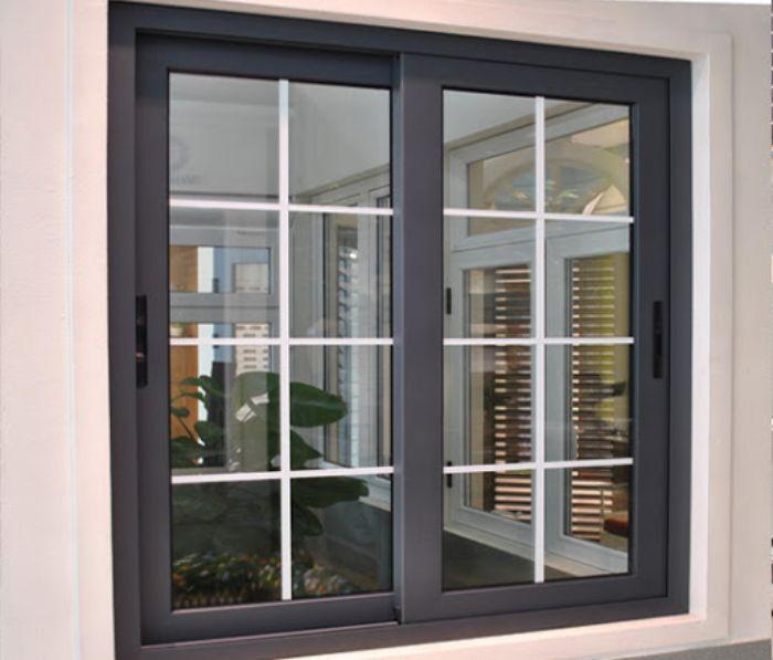Mẫu cửa sổ nhôm kính mở lùa 2 cánh màu ghi xám