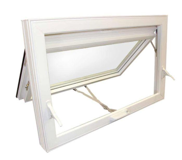 Mẫu cửa sổ nhôm kính 1 cánh màu trắng mở hất