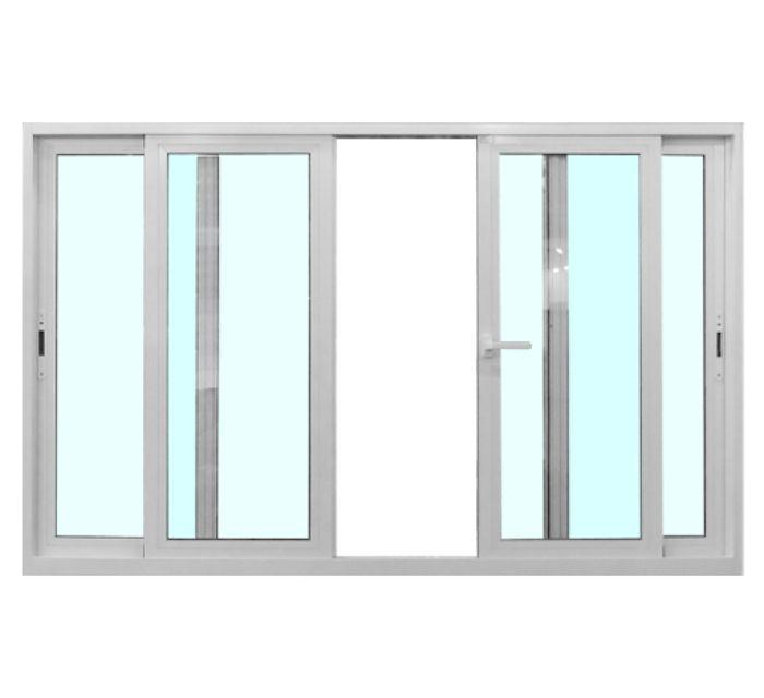 Mẫu cửa sổ nhôm 4 cánh trượt lùa màu trắng có lắp kính màu xanh