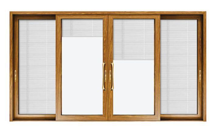 Mẫu cửa nhôm kính Xingfa 4 cánh trượt vân gỗ