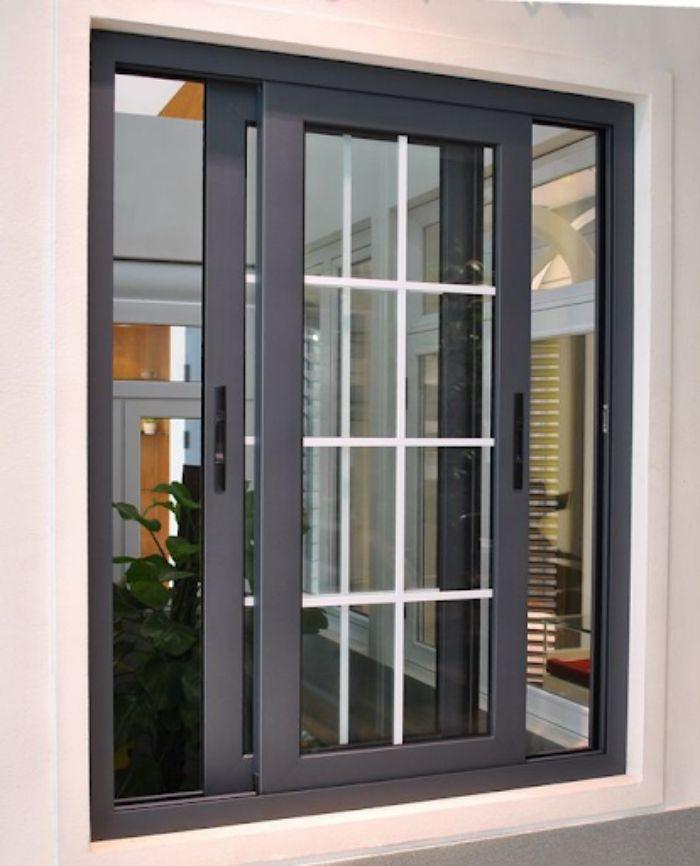 Mẫu cửa nhôm kính Xingfa 2 cánh màu đen mở lùa có trang trí kẻ ô