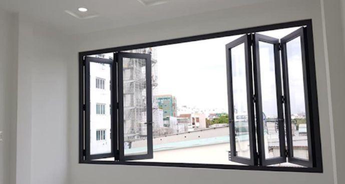 Mẫu cửa sổ nhôm kính Xingfa xếp trượt 6 cánh màu đen