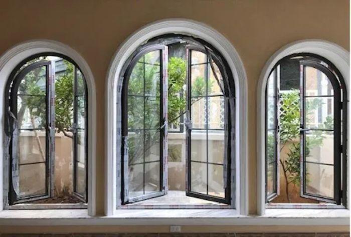 Mẫu cửa sổ nhôm kính Xingfa 2 cánh hình mái vòm