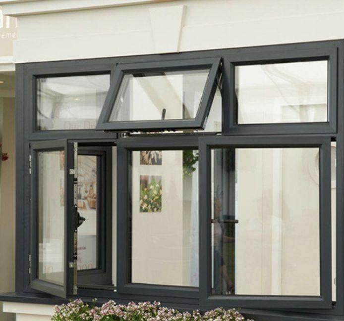 Mẫu cửa sổ nhôm kính mở lật đẹp màu đen kết hợp với mở quay