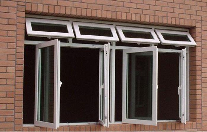 Mẫu cửa sổ nhôm kính mở lật đẹp màu trắng kết hợp với mở quay