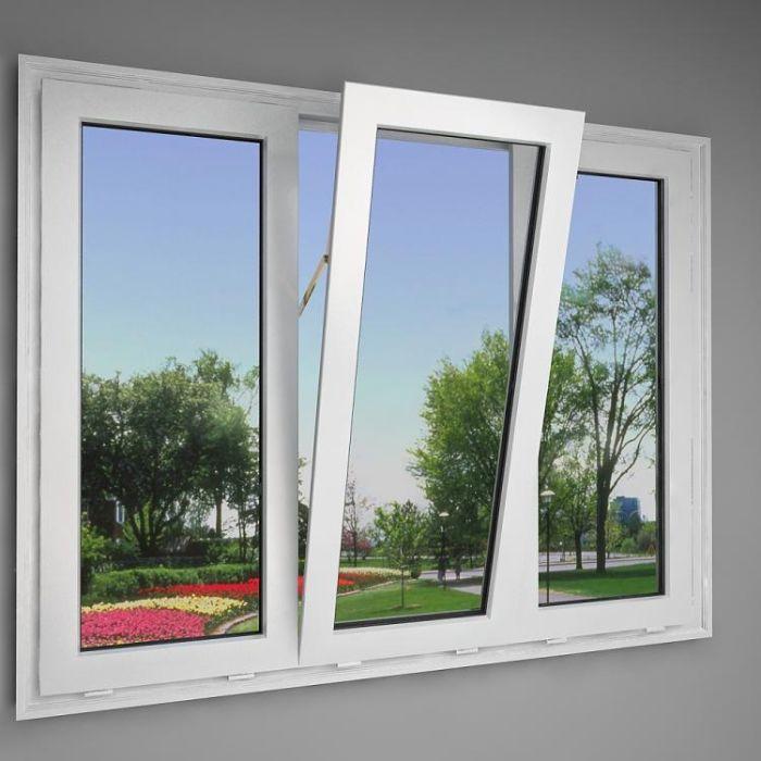 Mẫu cửa sổ nhôm kính mở lật đẹp 3 cánh màu trắng