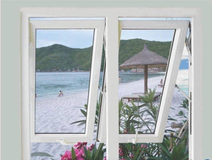 Cửa sổ nhôm kính 2 cánh màu trắng mở hất