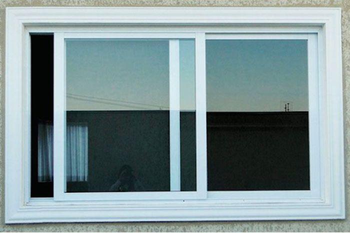 Cửa sổ nhôm kính sơn tĩnh điện màu trắng 2 cánh mở dạng trượt