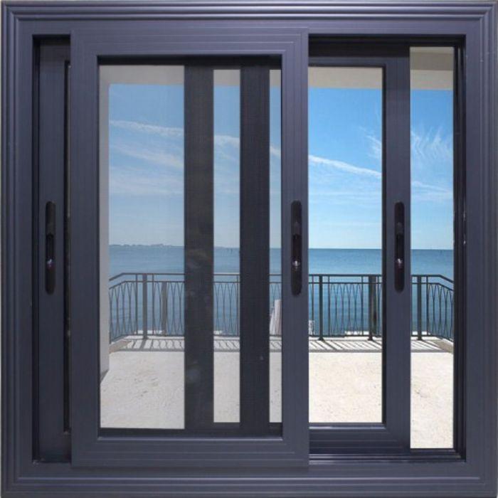 Mẫu cửa sổ nhôm kính sơn tĩnh điện màu đen 2 cánh mở dạng trượt
