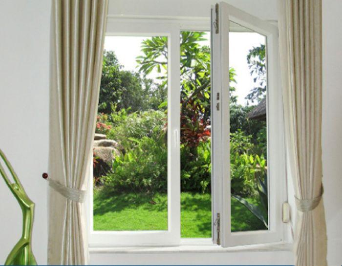 Cửa sổ nhôm kính sơn tĩnh điện màu trắng 2 cánh mở quay