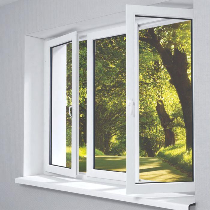 Cửa sổ nhôm kính sơn tĩnh điện 2 cánh màu trắng mở quay kết hợp vách kính trong