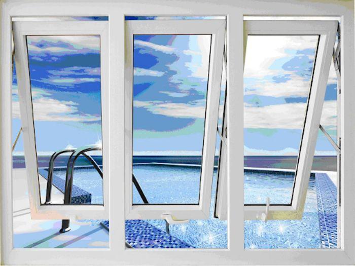 Cửa sổ nhôm kính Xingfa hệ 65 màu trắng 3 cánh mở hất