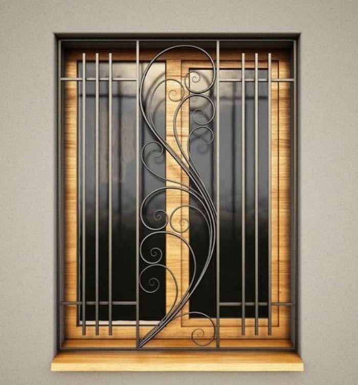 Cửa sổ sắt 2 cánh giả vân gỗ có hoa văn trang trí nghệ thuật