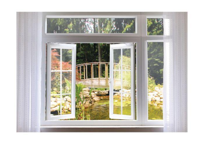 Cửa sổ sắt 2 cánh sơn tĩnh điện màu trắng có chia ô