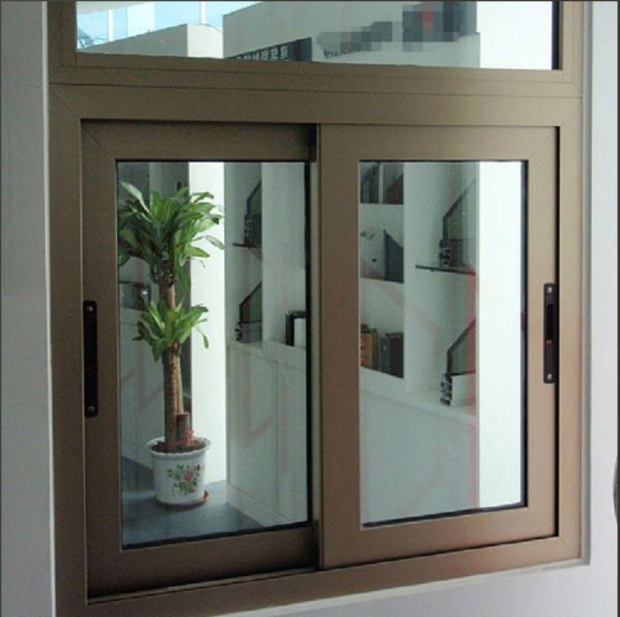 Cửa sổ sắt 2 cánh sơn tĩnh điện màu cà phê đóng mở dạng trượt