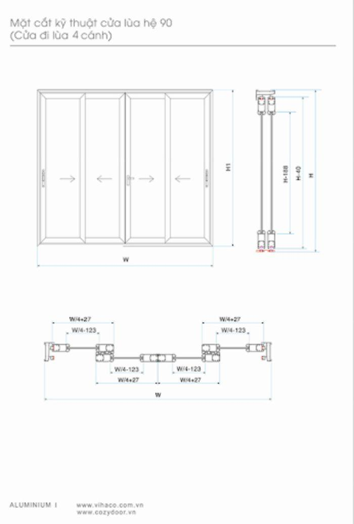 Bản vẽ kỹ thuật cửa sổ sắt lùa 4 cánh