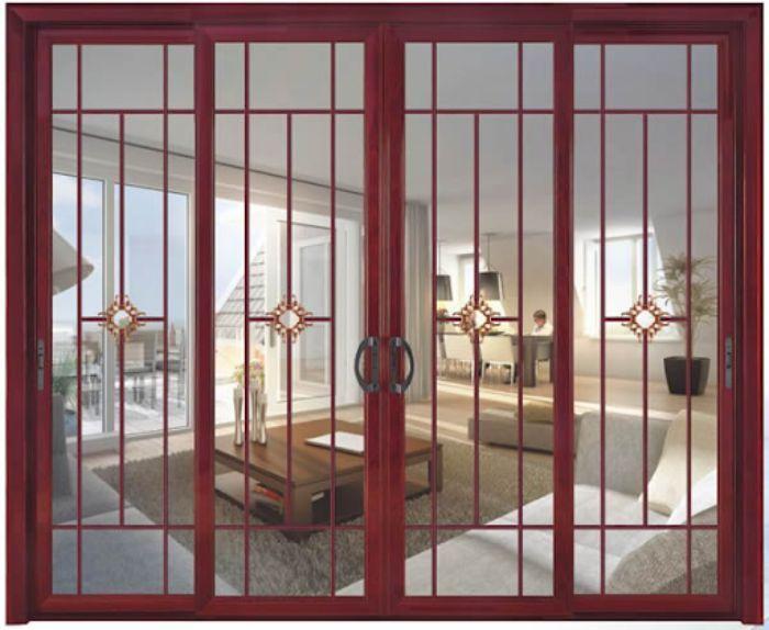 Cửa sổ sắt kính lùa 4 cánh có sơn màu giả vân gỗ