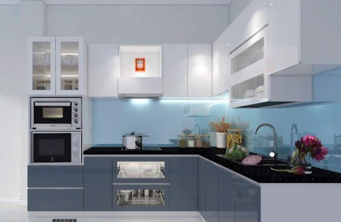 Tủ bếp nhôm kính chữ L màu trắng omega cao cấp