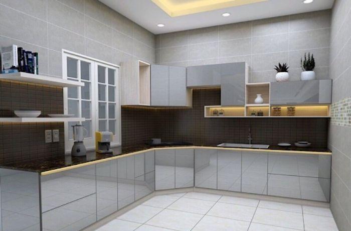 Tủ bếp nhôm chữ L có kết hợp cùng với kính gương lạ mắt