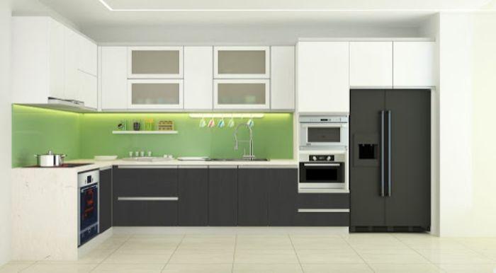 Tủ bếp nhôm chữ L cùng với kính màu trong