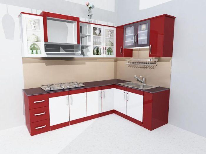 Tủ bếp nhôm chữ L có sơn tĩnh điện màu trắng đỏ