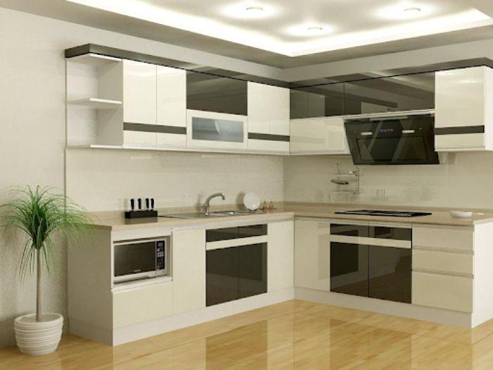 Tủ bếp nhôm kính chữ L màu trắng đen được thiết kế sang trọng