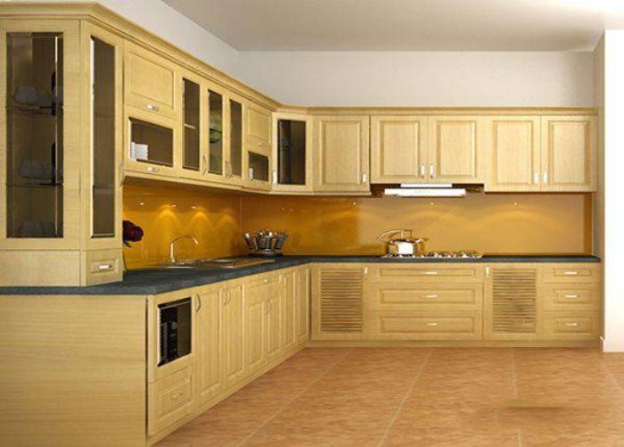 Tủ bếp nhôm kính chữ L vân gỗ kích thước lớn dành cho không gian bếp rộng