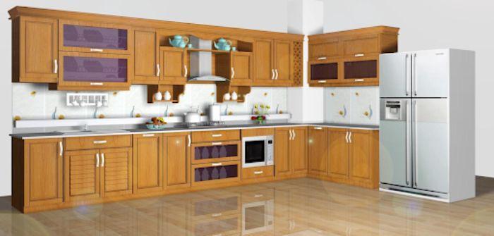 Mẫu tủ bếp nhôm kính đẹp hiện đại