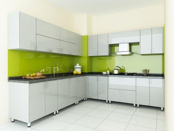 Tủ bếp nhôm kính sơn tĩnh điện mẫu 1