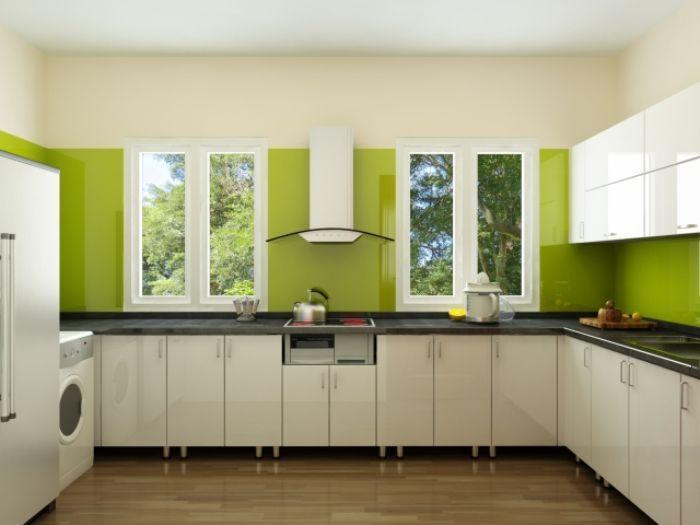 Tủ bếp nhôm kính sơn tĩnh điện mẫu 2