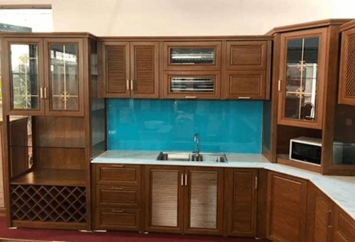 Tủ bếp nhôm kính sơn tĩnh điện mẫu 4