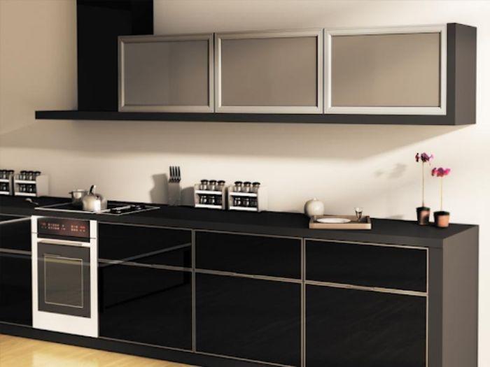 Tủ bếp nhôm kính màu đen mẫu 2